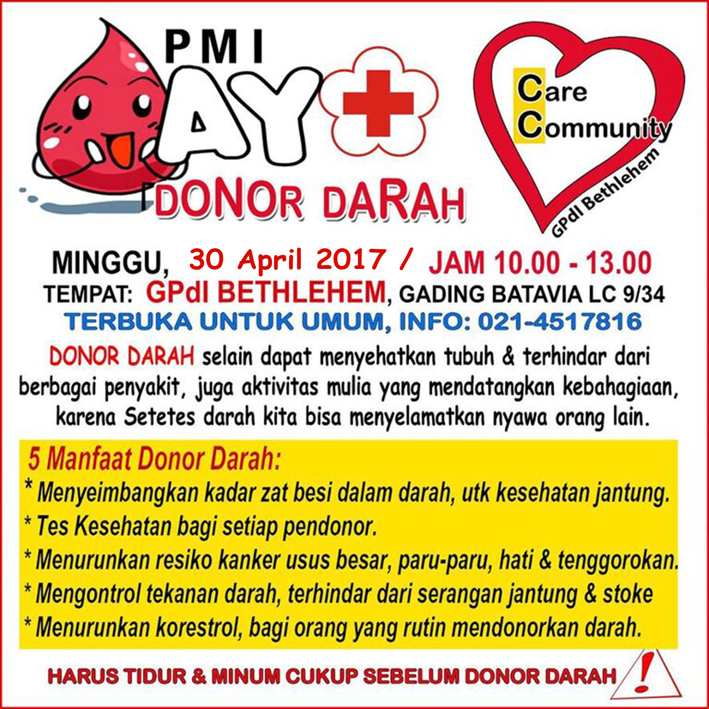 's Do it ! Donor darah 30 Apr 2017